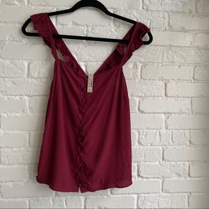 NWT Madewell Maroon Red Tank Top Button Down Sz 8